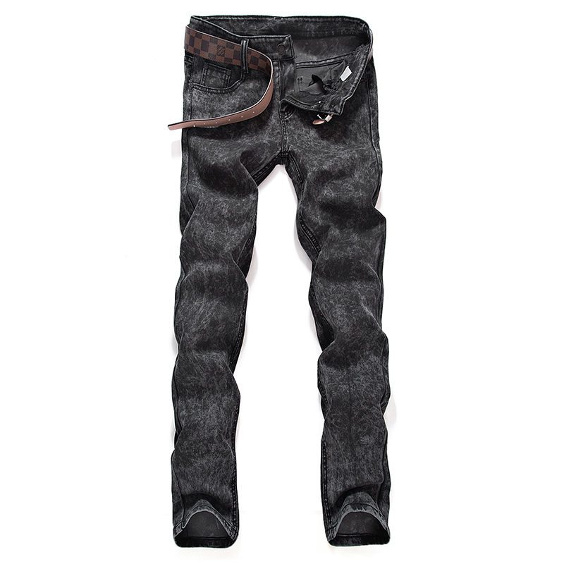 Gray Mens Jeans Snowflake Slim Fit Denim Pants Male Size 28-38 Classic Design Fashion Casual Youth Trousers