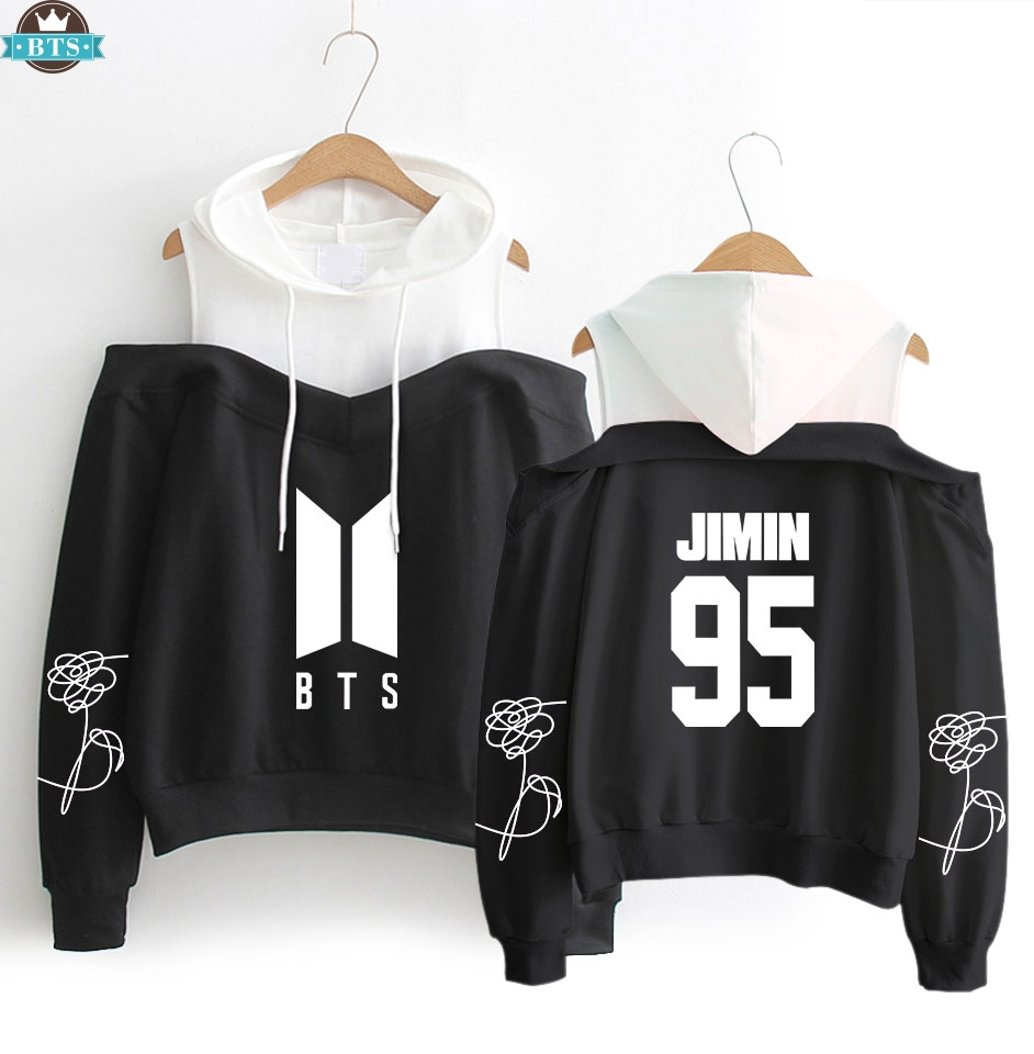 Hoodies & Sweatshirts Kpop Love Yourself 2019 Dew Shoulder Sweatshirt Women Fashion Casual Exclusive Small Sexy Dew Shoulder Female Fan Clothes 2xl
