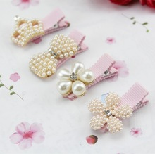 1PC New Baby Hair Clips Crown Pearls Hairpins Children Hair Accessories Protect Well Wrapped Bow with