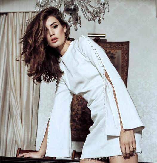 De Soirée Élégante Sexy Blanc Célébrité Bouton Robe Top Mini Femmes cou Noir Plein Dame Manches Flare O Qualité Rouge 6pwOaZ7FSq