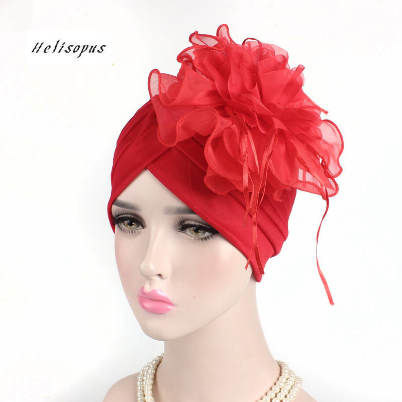 Helisopus 2019 New Ladies Big Flower Lace Turban Hat Womens Ruffle Retro India   Headwear   Hat Cocktail Party Hat Hair Accessories