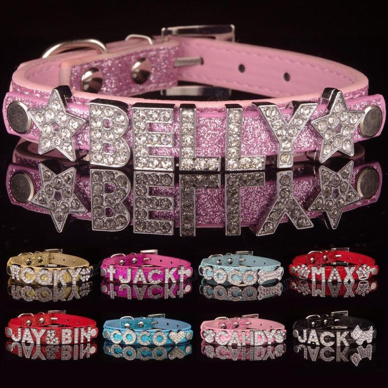 DIY PU Leather Collar Pet Puppy Dog Cat Collar Bling Rhinestone Pet Name Suit For Small Dog Cat