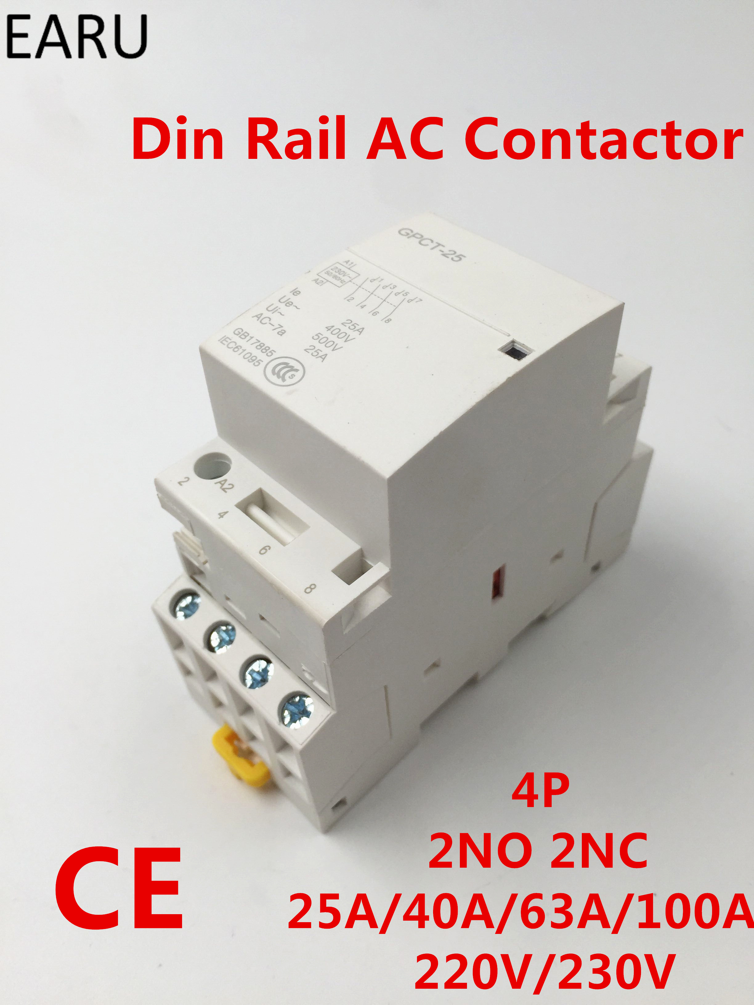 GPCT1 4P 25A 40A 63A 100A 2NC 2NO 220V/230V 50/60HZ Din Rail Household Module Modular Ac Contactor For Home Hotel Resturant free shipping gpct1 2p 16a 25a 220v 230v 50 60hz din rail household ac contactor 2no for household home hotel resturant