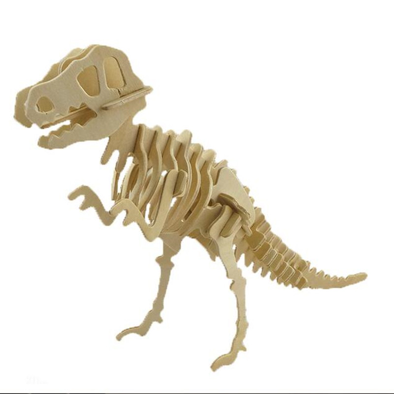 3D Dinosaur Model Puzzles Wooden Puzzles DIY Toy Woodcraft Handmade Toy Learning Educati ...