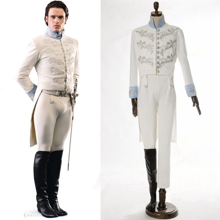 Cenicienta traje del partido adultos príncipe azul cosplay del traje de halloween bordado chaqueta party carnival