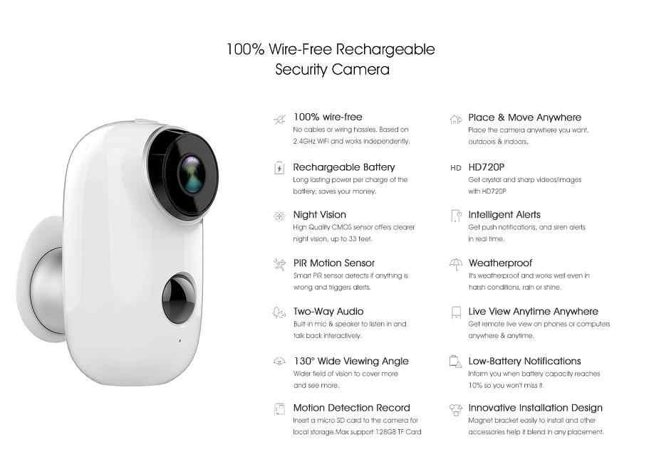 CTVISON 100% ワイヤーフリーバッテリーの Ip カメラ WiFi 充電式バッテリ駆動フル Hd 屋外屋内ワイヤレスセキュリティ IP カメラ