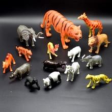 15Pcs/lot 3-20CM PVC Simulation Wild Animals Model of tiger Africa elephant lion rhino camel zebra Model Toys for kids gift цена в Москве и Питере