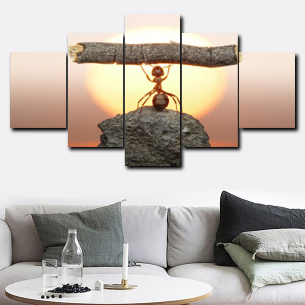 Laeacco Canvas Painting Calligraphy 5 Panel Sunshine Ant Animal Posters and Prints Art Wall Pictures for Living Room Home Decor in Painting Calligraphy from Home Garden