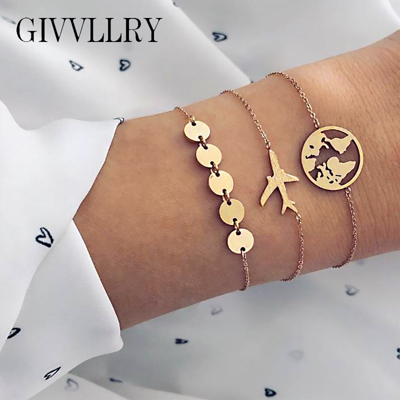 GIVVLLRY Gold Metal Sequins Chain Bracelets for Women Minimalist Creative Metal World Map Airplane Charm Bracelets Set Jewelry