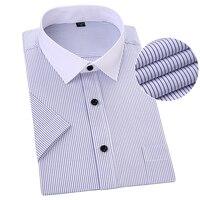 Plus Size Short Sleeve Men Shirt Striped Blue Color Asian 5XL 6XL 7XL 8XL Man Shirts