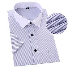 Плюс Размеры короткий рукав Для мужчин рубашка в полоску голубой цвет Азиатский 5XL 6XL 7XL 8XL человек рубашки Повседневное Бизнес формальный мужской рубашки работы
