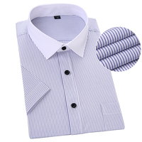 Plus Size Short Sleeve Men Shirt Striped Blue Color Asian 5XL 6XL 7XL 8XL Man Shirts