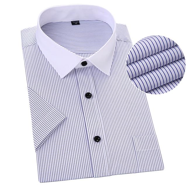 4bc69c34808 Plus Size Short Sleeve Men Shirt Striped Blue Color Asian 5XL 6XL 7XL 8XL  Man Shirts Casual Business Formal Male Work Shirts