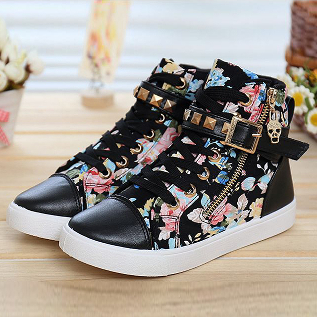 753547459641 Floral High Top Shoes Women Canvas Shoes Lace Up Brand Ladies Shoes Casual  Women Trainers 2015