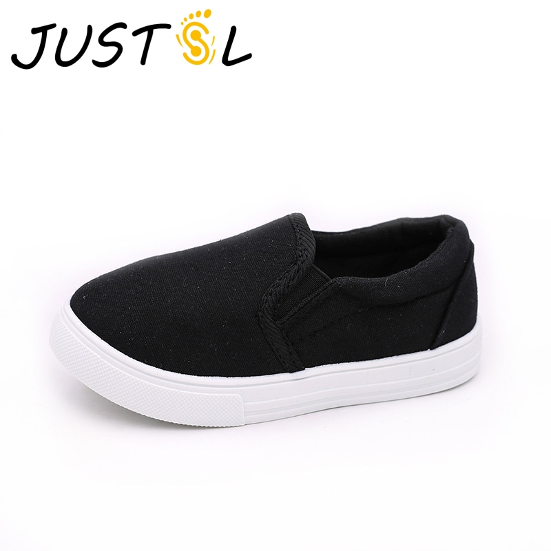JUSTSL 2018 spring new children white shoes students canvas shoes boys girls white shoes school performance shoes for kids