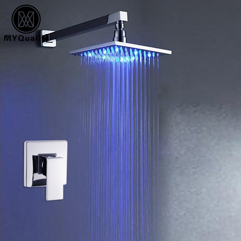 Chrome Finish Wall/ceiling Mounted Bathroom Shower faucet 8 Rain LED Light Shower Head Single Handle chrome framed wall mounted bathroom make