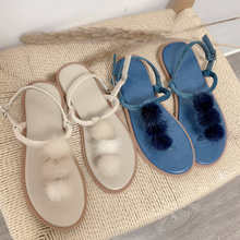 Fashion Women Summer Sandals Open Toe Shoes Ankle Buckle Strap Women Flat Sandals Casual Flock hairball Sandals Footwear coolcept size 34 43 simple women wedges sandals open toe ankle strap rivet sandals summer daily leisure shoes women footwear