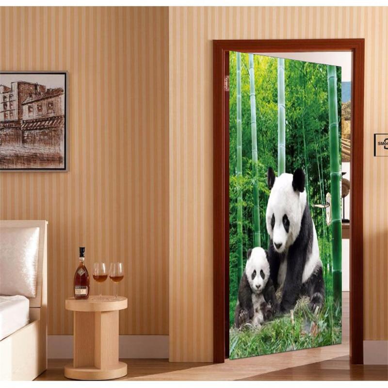 Door Sticker Self Adhesive Painting Wallpaper Panda naive 3D DIY Mural Wallpaper Background Wall Painting Living Room Bedroom Обои