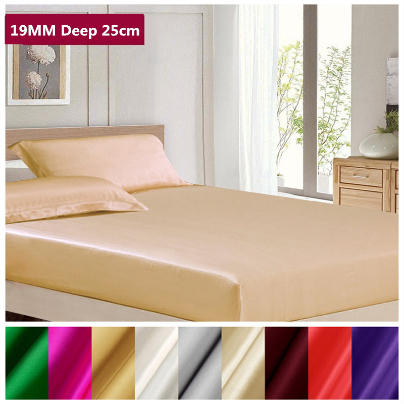 Free Shipping 19MM 100 Mulberry Silk Fitted Sheet Deep 25cm Soft Flat Sheet Multicolor Multi Size