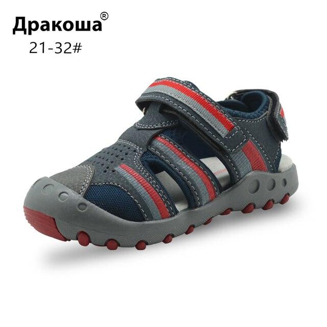 fd81ce225 Apakowa Весна Лето Мальчики Сандалии для ребенка мальчик закрытый носок  пляжные сандалии сумка для занятий спортом