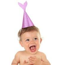 6 Pcs/lot Lovely Girls Mermaid Party Supplies Glitter Cardboard Birthday Hat Headband Under the Sea Decoration