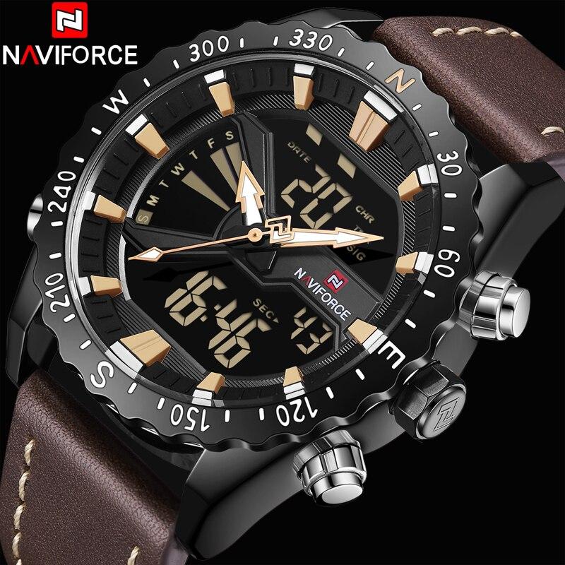 NAVIFORCE montres homme En Cuir En Plein Air montre de sport Hommes Analogique de Quartz led montre digitale Étanche Militaire Mâle montre-bracelet