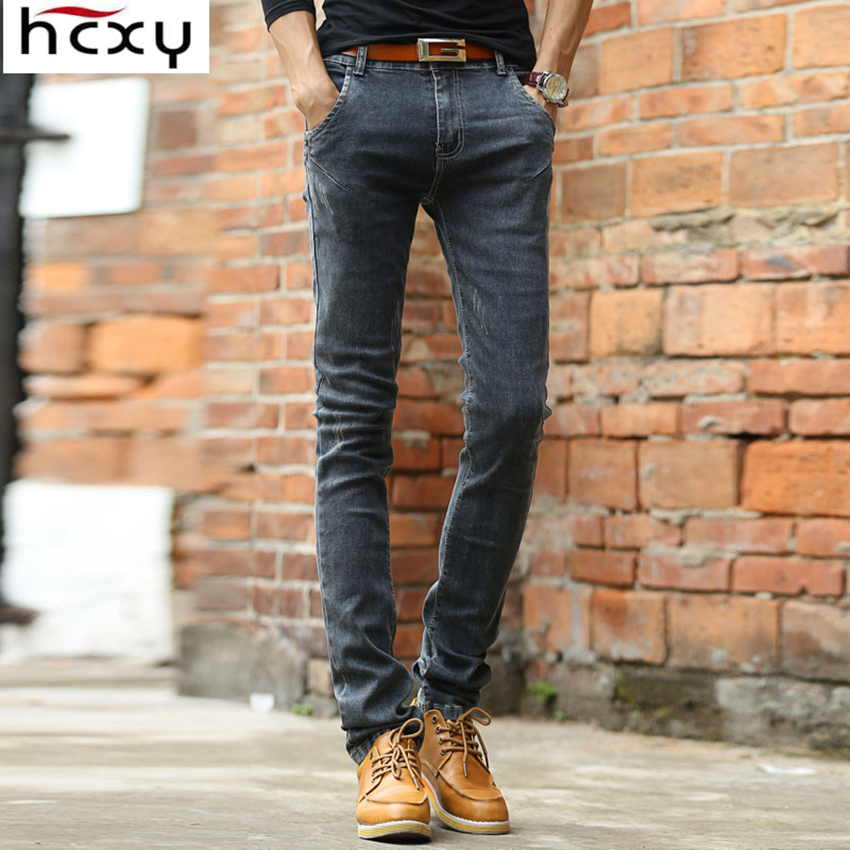 2017 Men Soft Deep Grey mens Jeans Homme Slim Elastic denim pants men Skinny Brand Designer Jeans Pants for male men s cowboy jeans fashion blue jeans pant men plus sizes regular slim fit denim jean pants male high quality brand jeans