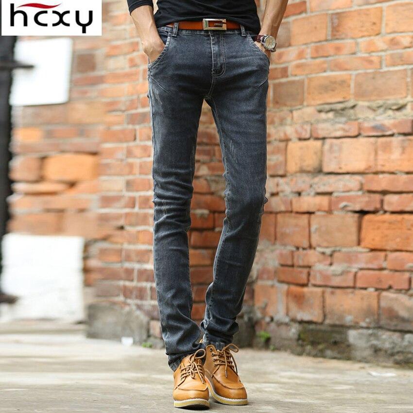 2019 Men Soft Deep Grey Mens Jeans Homme Slim Elastic Denim Pants Men Skinny Brand Designer Jeans Pants For Male