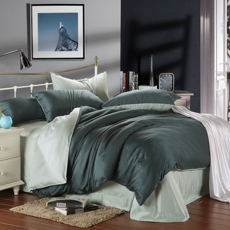 Charmant Dark Green With Green Beans 100% Silk Bedding Sets 4pcs Plain Double Color  Duvet Bed Quilt Covers . For King Queen Size In Bedding Sets From Home U0026  Garden ...