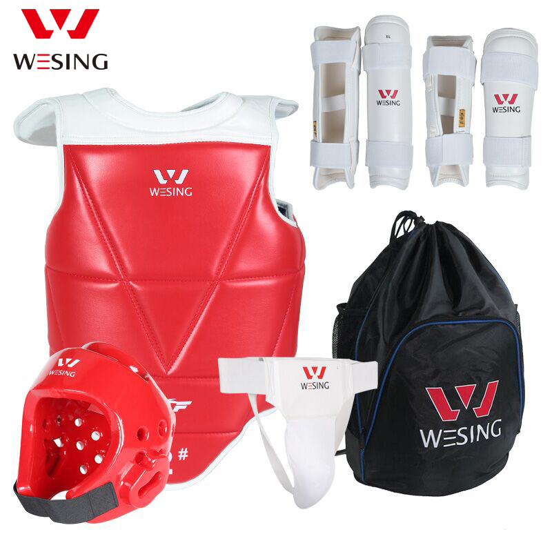 Wesing Professional Taekwondo Protective Gears for Training with Head Guard Chest Protector Shin Guard Arm Groin Guard for Sport 2018 new taekwondo chest protector target boxing protector wushu sanda training exercise chest thai protector free shipping