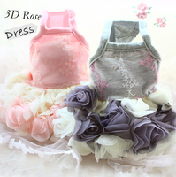 Free Shipping Adorable High End Luxury 3D Rose Dog Evening Dresses Pet Apparel Puppy Clothes For