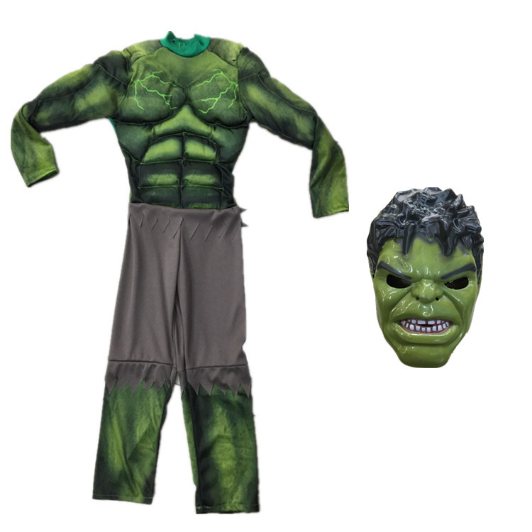 halloween new year carnival Superheroes Avengers green the incredible hulk costume muscle for boys kids children cosplay child