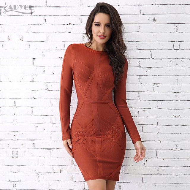 ab852673263 Adyce 2018 New Fashion Winter Bandage Dress Sexy O Neck Long Sleeve Sexy  Women Celebrity Evening Party Dress Vestidos Wholesale