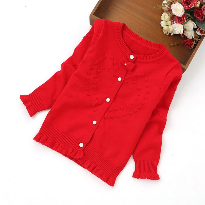 Baby Girl Boy Sweaters Solid Full Sleeve Outwear Child Sweaters Red 4