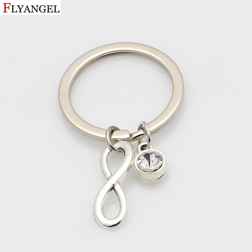 Simple Lucky Number Gigantic Keychain Car Key Chain Creative Birthstone Pendant Chain Key Ring For Man Women Birthday Gift