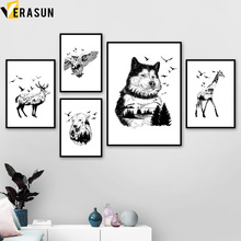 Goat Eagle Bear Wolf Giraffe Nordic Posters And Prints Wall Art Canvas Painting Black White Pictures For Living Room Decor