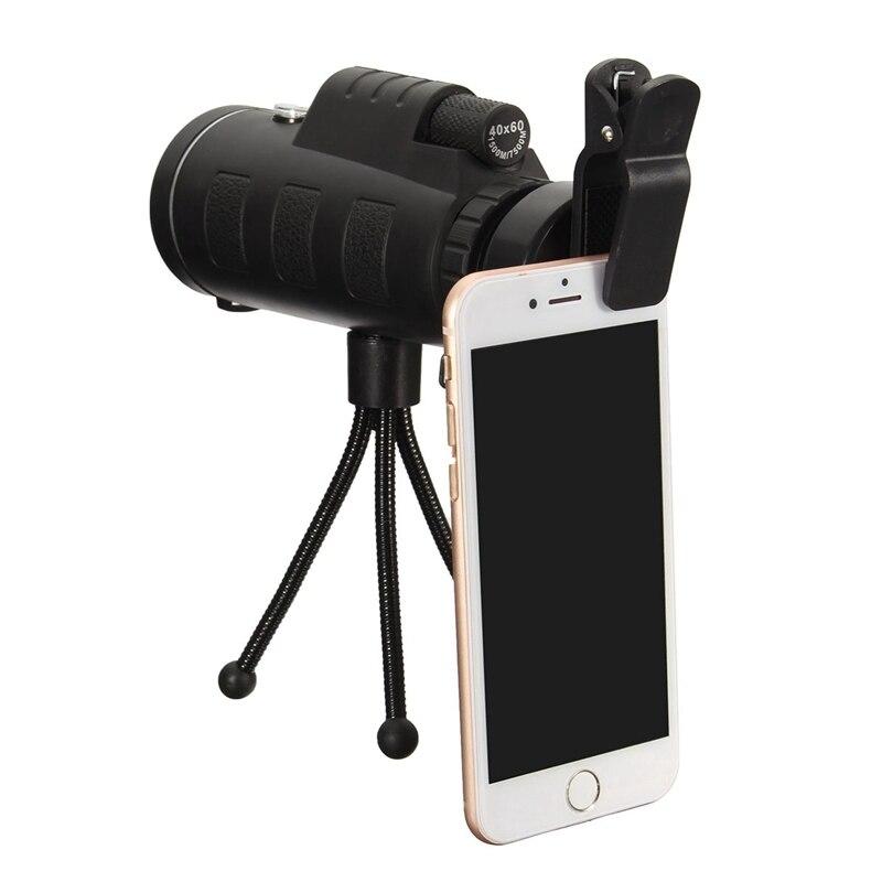 40X60 HD Monoculaire Portable Télescope Téléobjectif Optique Prisme Mobile Téléphone Camera Lens + Trépied Universel pour Smartphones