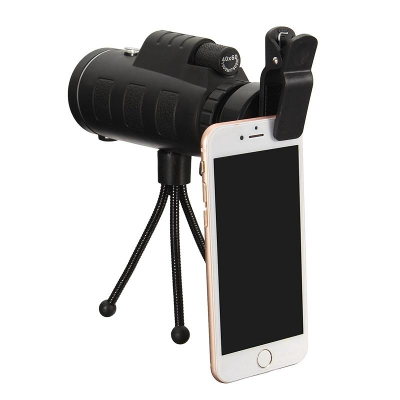 imágenes para 40X60 HD Portable Monocular Telescopio Teleobjetivo Lente Prisma Óptico Del Teléfono Móvil Lente de La Cámara + Trípode Universal para Teléfonos Inteligentes