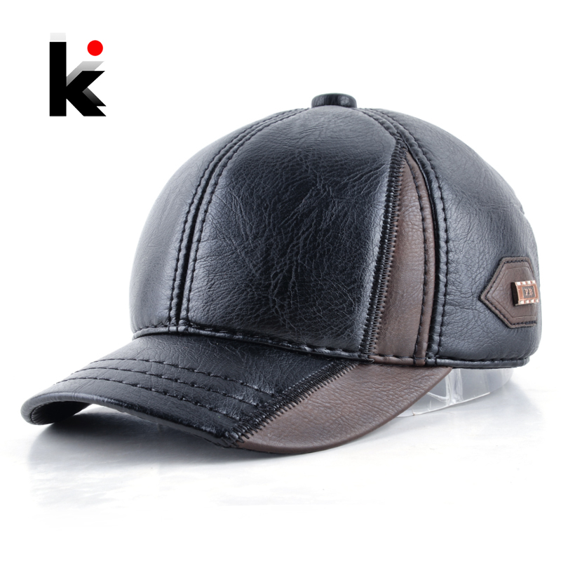 Mens winter leather cap warm patchwork dad hat baseball caps with ear flaps russia adjustable snapback hats for men casquette ht647 warm winter leather fur baseball cap ear protect snapback hat for women high quality winter hats for men solid russian hat
