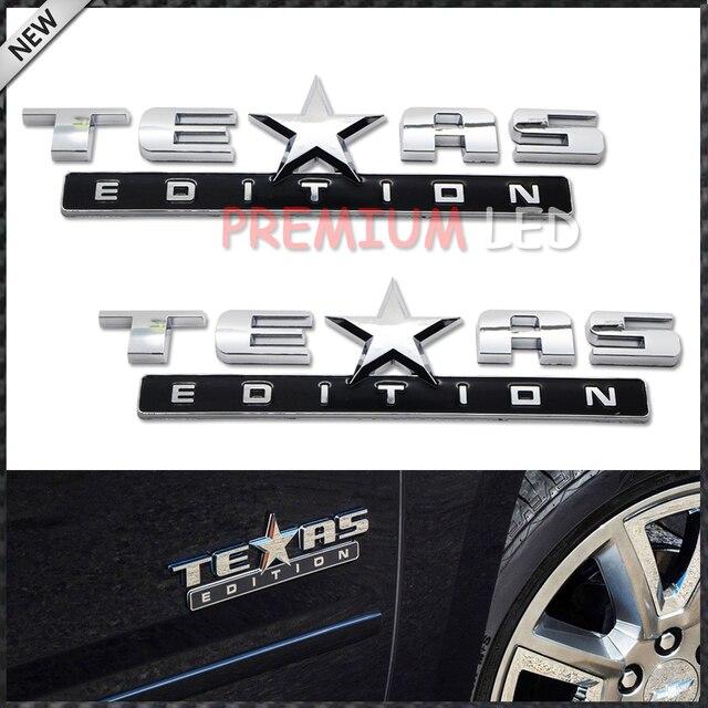 2pcs Chrome Finish 3D Texas Edition Emblem Badges For Chevrolet Silverado,  GMC Sierra (Also