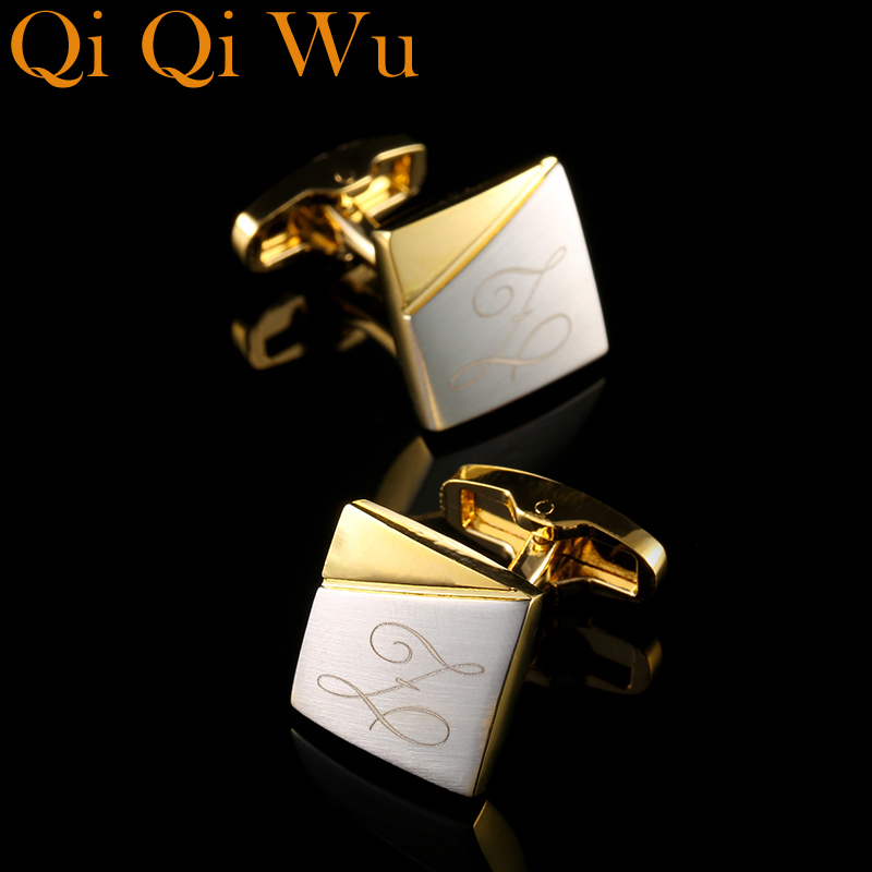 Personalized Gold Cufflinks Custom Name Cuff Links Mens Gifts Dad Customized Golden Cuff Buttons Wedding Gift For Fathers Day