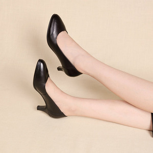 Image 5 - DRKANOL Classic Black Women Pumps 2020 Pointed Toe High Heel Shoes Women Genuine Leather Slip On Office Shoes Sapato Feminino