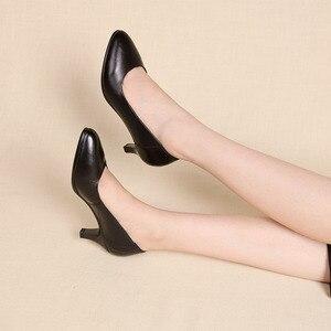 Image 5 - Drkanol古典的な黒女性パンプス 2020 ポインテッドトゥハイヒールの靴女性本革スリップオフィス靴sapato feminino