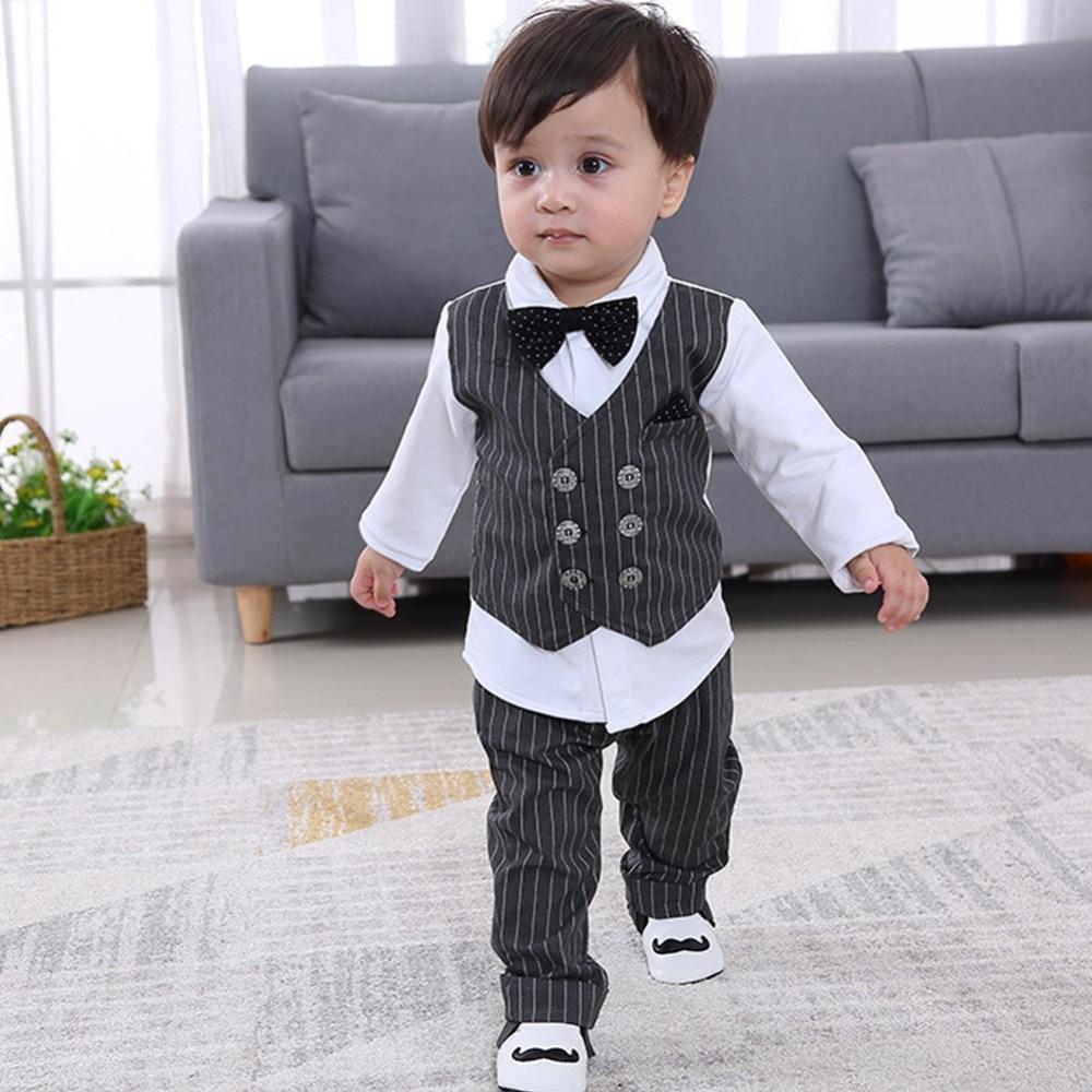 Baby Suit Vest Shirt+Pants Gentleman Bow Tie Set Spring Autumn Baby Boys Casual Stripe 2 Pieces Infant Baby Clothes Clothing Sets     - title=