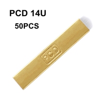 50 шт. иглы для микроблейдинга PCD 14 контактов u-образный Перманентный макияж лезвия для ручного татуажа бровей Изогнутое лезвие для татуировки ручка