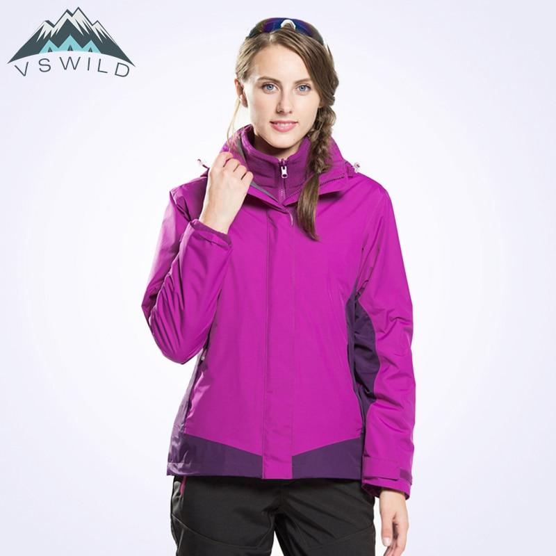 Female Triple Combo Jacket Winter Outdoor Thicked Women JacketsWindproof Waterproof Breathable Thermal Softshell Jacket Outdoor