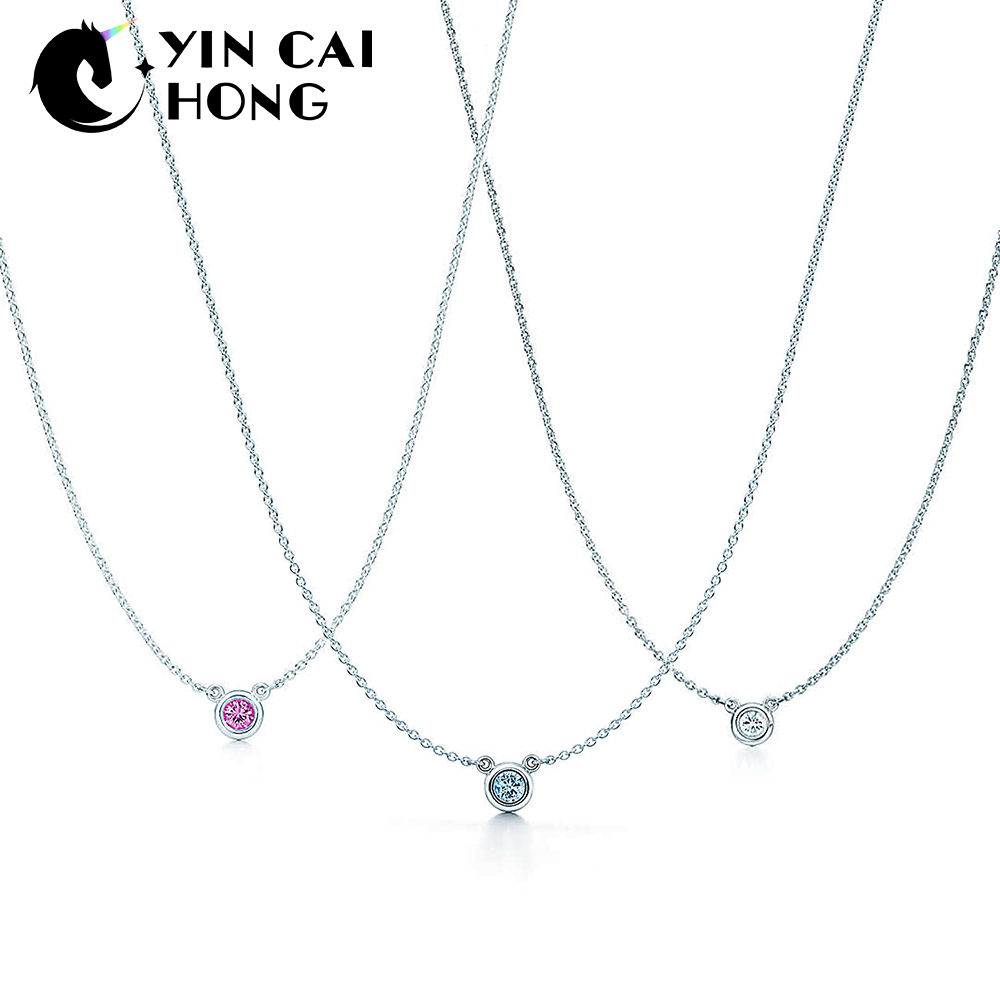 67ae4f98876 YCH Charm 925 Sterling Silver Fashion Simple Glittering Gemstone Exquisite Necklace  Original Women Charming Shining Necklace