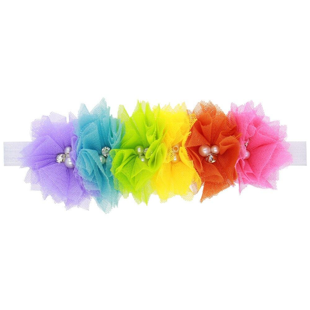 Artificial Tulle Mesh Chiffon Flower For Gilrs Hair Accessories Handmade Fabric Flowers Headbands 12pcs