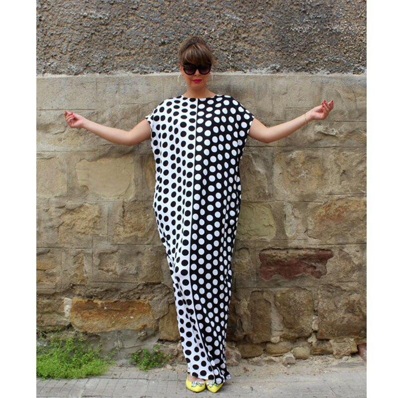 07119c8fc46 2017 Summer Maxi Dress Women Short Sleeve Party Dresses Loose Long Boho  Polka Dot Dress Plus Size Women Clothing Vestidos-in Dresses from Women s  Clothing   ...