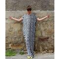 2017 Summer Maxi Dress Women Short Sleeve Party Dresses Loose Long Boho Polka Dot  Dress Plus Size Women Clothing Vestidos